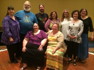 National Board 2014-2015. Front Row: Stachia Ravensdottir, Lady Emrys. Back Row: Zenah Smith, Jack Prewett, Gordon Stone, Kathy Lezon, Lady Annabelle, Cat Perron, Lady Mehurt