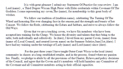 Example of a coven's Statement of Practice